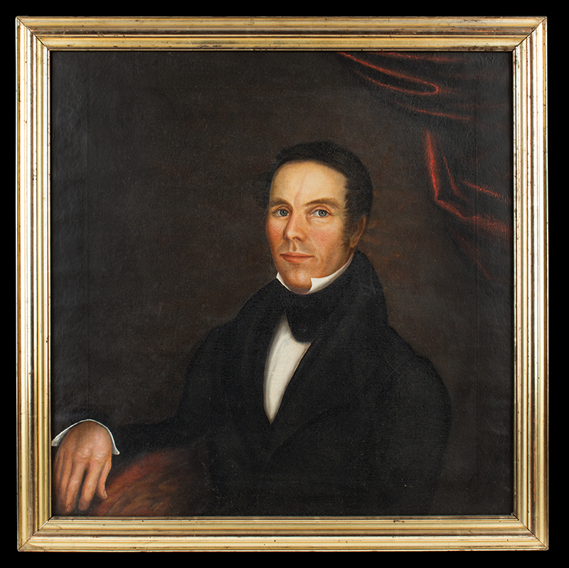19th Century Folk Portrait, in Script on Frame is Found …Oliver Bourne, Kennebunkport, Maine, Oliver Bourne (1797-1881), entire view