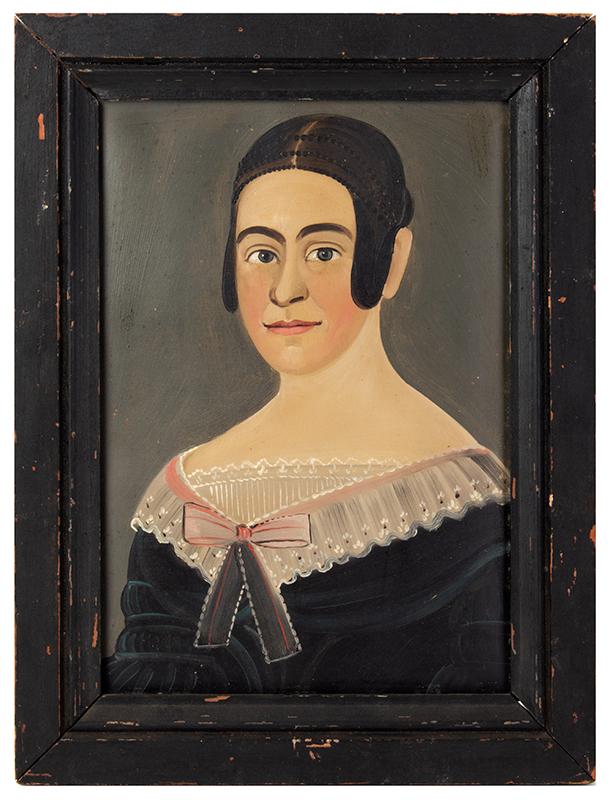 Prior-Hamblin School Folk Art Portrait, Young Lady Attributed, George Hartwell (1815-1901), entire view