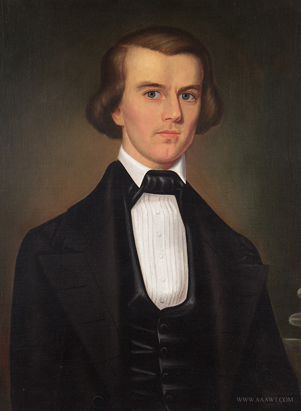 19th Century American School Portrait of Handsome Gentleman in Black Jacket Anonymous A striking composition apparently by an artist with some training, entire view
