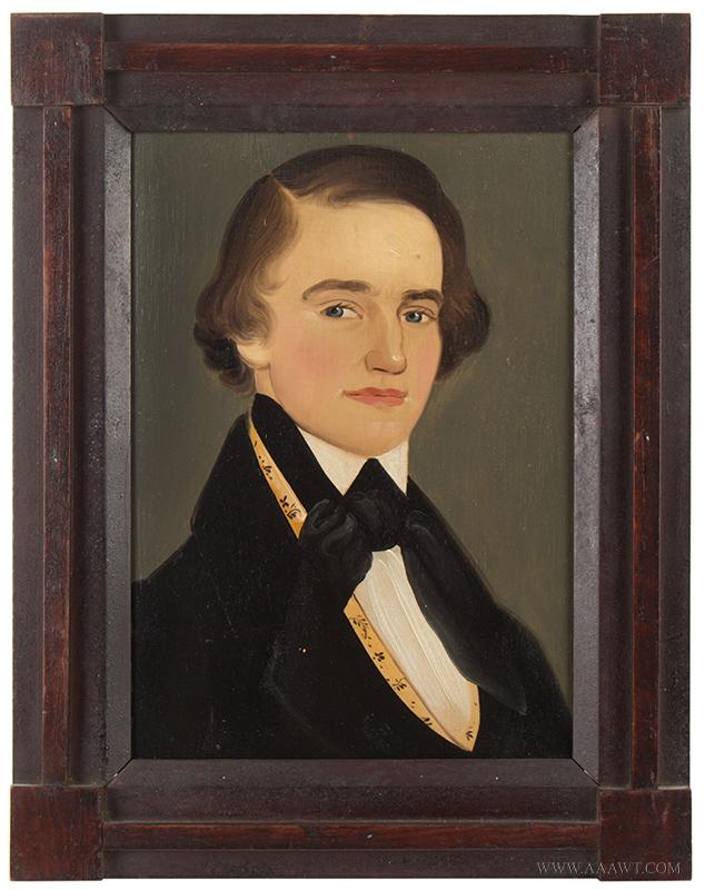 William Mathew Prior (1806-1873), Folk Art Portrait of a Handsome Young Man Circa 1835-1845, entire view