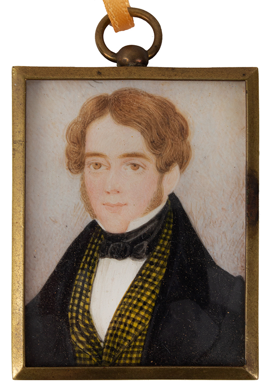 Miniature Portrait, Gentleman, Black & Yellow Checkered Vest Anonymous, Early 19th Century Watercolor, entire view