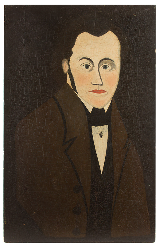 Folk Portrait of a Gentleman Wearing Brown Coat, American School, Circa 1840, entire view