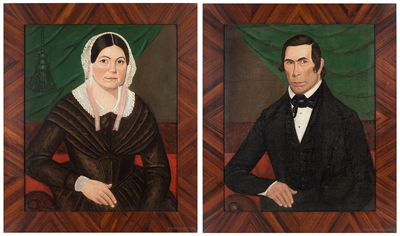 Pair of Folk Portraits of a Lady and Gentleman Attrib. Jacob Bailey pair
