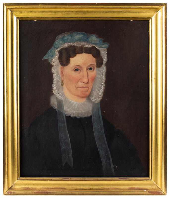 Folk Art Portraits, Signed, Sarah Little - E.E. Finch - Painter – 1834, Maine Mrs. Sarah Little, AE 56 & possibly her daughter; signed and Id's as a Finch Oil on canvas, original untouched condition including stretchers and frames, entire view mother
