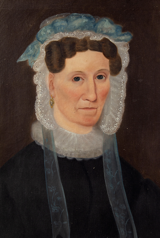 Folk Art Portraits, Signed, Sarah Little - E.E. Finch - Painter – 1834, Maine Mrs. Sarah Little, AE 56 & possibly her daughter; signed and Id's as a Finch Oil on canvas, original untouched condition including stretchers and frames, mother sans frame