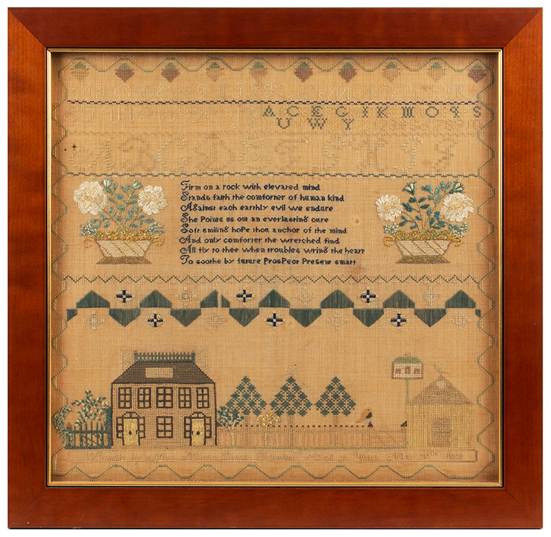 Antique Sampler: Martha Barron Pickering,   Portsmouth, New Hampshire, 1828