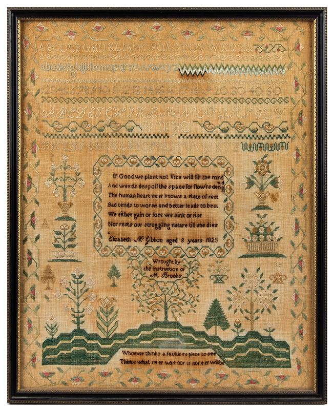 Antique Sampler: Elizabeth McGibbon, Aged 8 Years, 1828, Portsmouth, New Hampshire