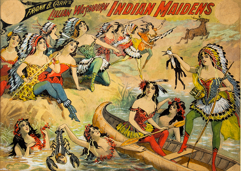 Watercolor & Ink Illustration, Wild West, Frank B. Carr' s Lillian Washburn Indian Maidens Original artwork, A Burlesque copyrighted by Lillian Washburn, New York, 1899, entire view sans frame
