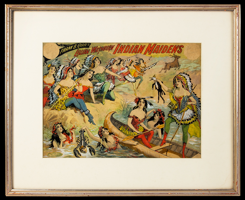 Watercolor & Ink Illustration, Wild West, Frank B. Carr' s Lillian Washburn Indian Maidens Original artwork, A Burlesque copyrighted by Lillian Washburn, New York, 1899, entire view 1