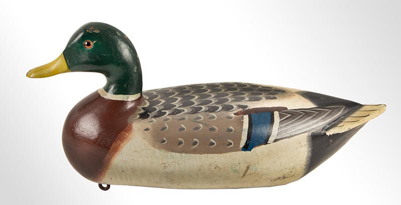 Rigmate Pair, Mallard Duck Decoys by Charles Perdew (1874-1963) Original Paint Henry Illinois A fine pair of original Perdew decoys, male view 4