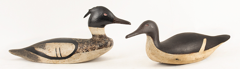Antique merganser Duck Decoys, by George Huey, Original & Outstanding Paint Friendship, Maine Classic stylized birds…displaying long low profiles, entire view