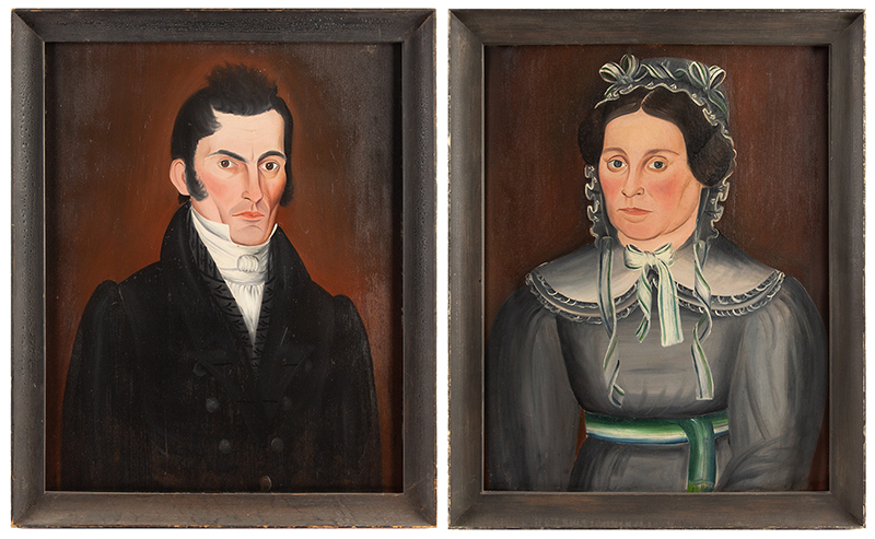 SHELDON PECK (1797–1868) Portraits of a Man and Woman, Painted About 1828 Oil on wood panel