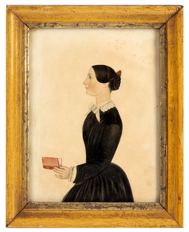 Folk Portrait of Woman Holding Red Book, Annotations on Verso