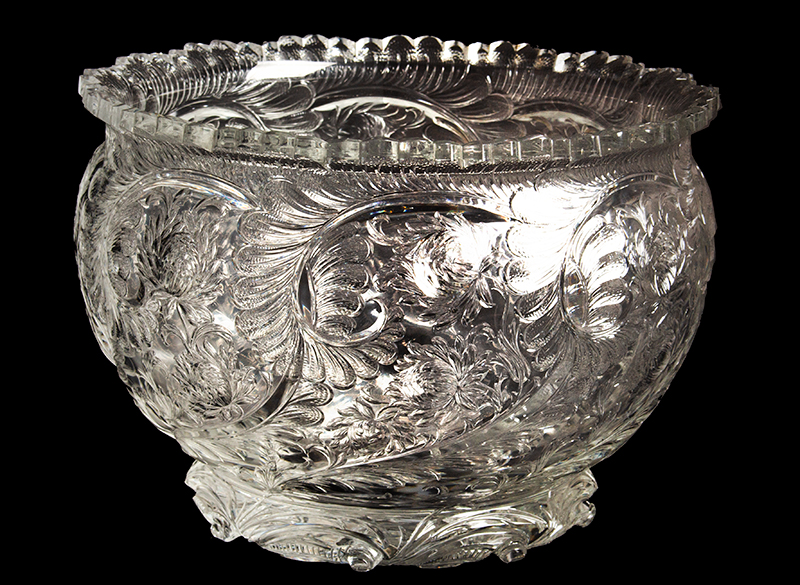 Thomas Webb & Sons Cut Crystal Punch Bowl, Signed William Fritsche  Stourbridge, England, 1870's, entire view 2