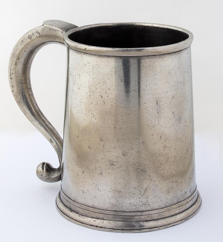 Antique Pewter, Quart Mug, Parks Boyd, 5.5-Inch Philadelphia, Pennsylvania (1795-1819), entire view