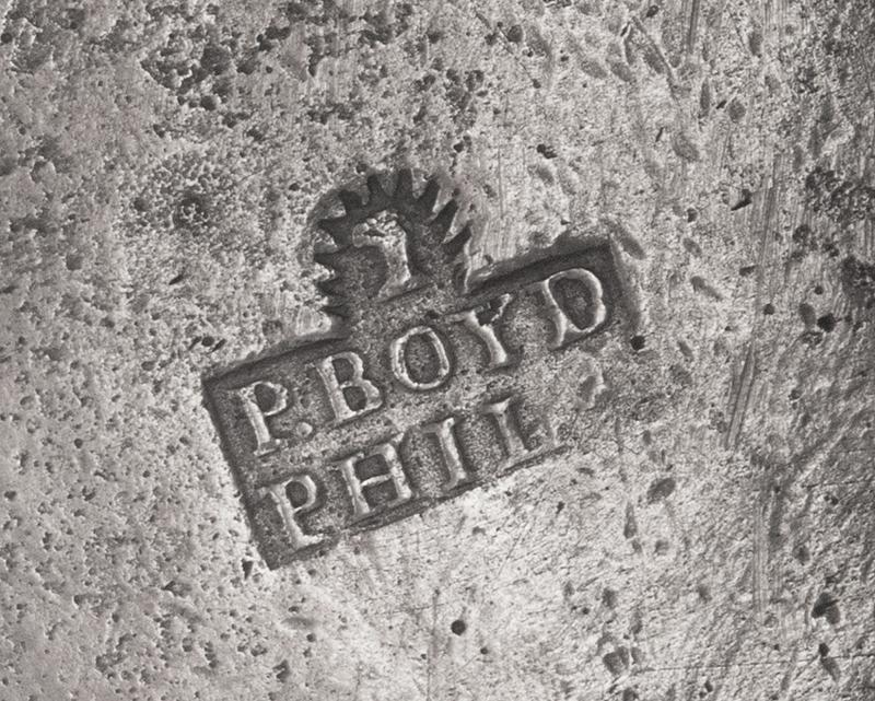 Antique Pewter, Quart Mug, Parks Boyd, 5.5-Inch Philadelphia, Pennsylvania (1795-1819), mark detail