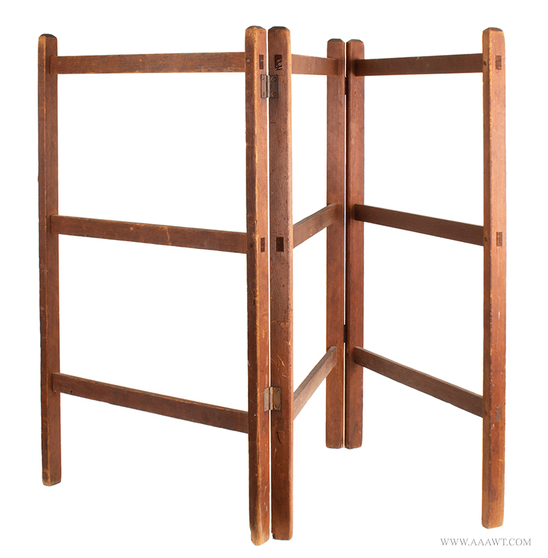 Herb Drying Rack, Clothes, Bedding, Best Dry Natural Patina & Construction, Signed Hinges New England, 19th Century, entire view