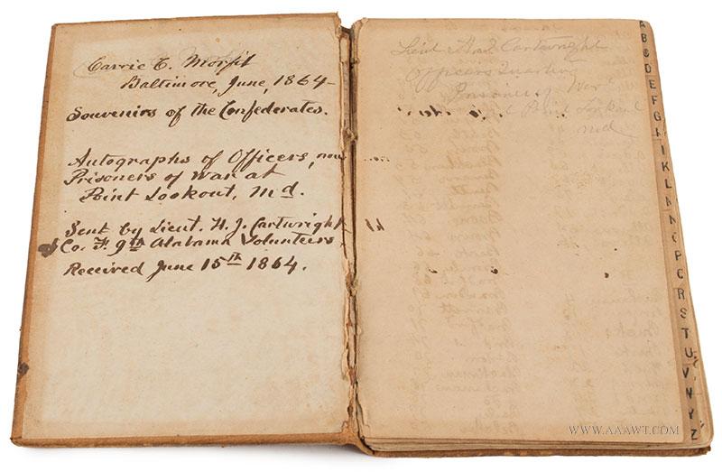 Civil War, Prisoner Of War Autograph Book, Point Lookout Prison, Maryland