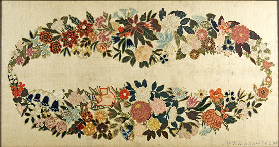 Needlework Table Cloth        Mid 19th Century        Professionally framed, entire view