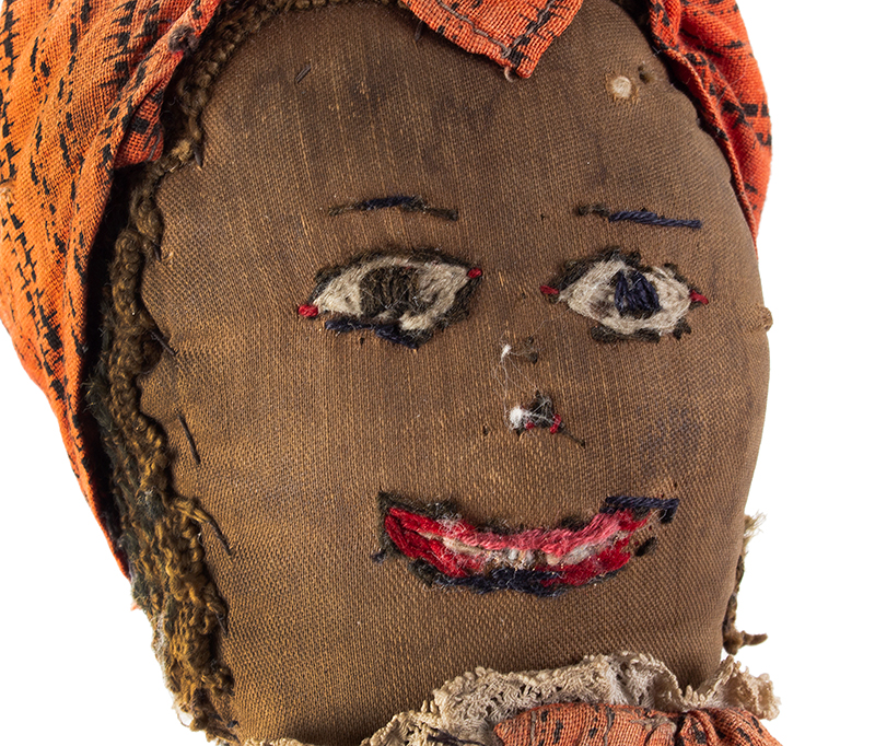 Doll, Black Rag Doll, Original Red Calico Dress 19th Century, face view