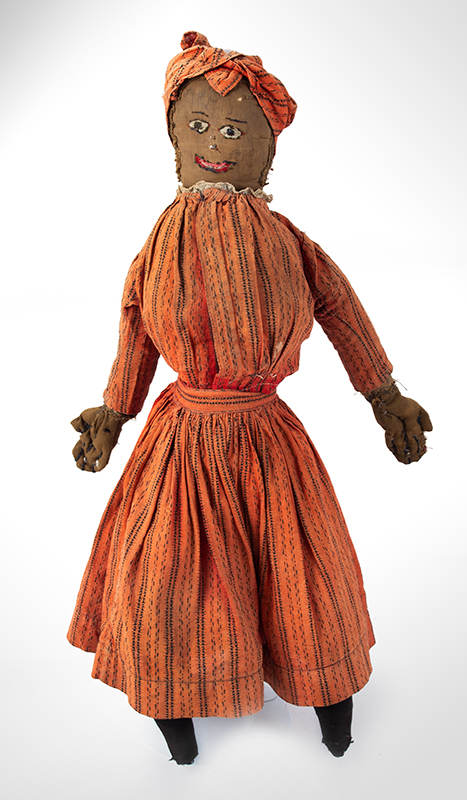 Doll, Black Rag Doll, Original Red Calico Dress 19th Century, entire view