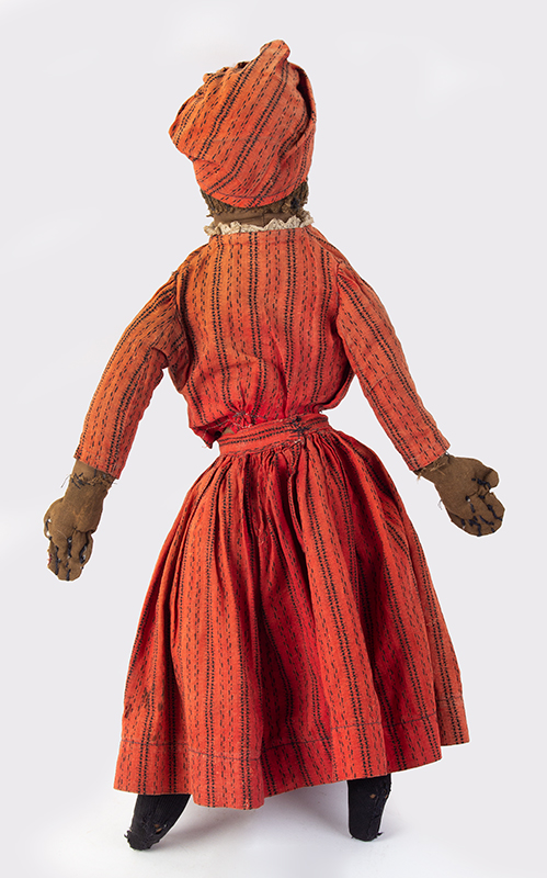 Doll, Black Rag Doll, Original Red Calico Dress 19th Century, entire view 3