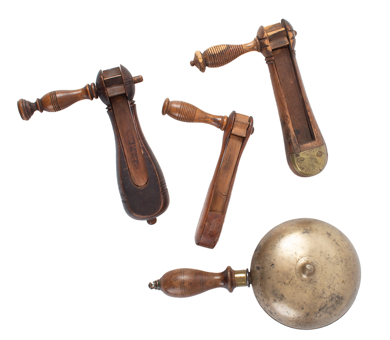 Antique Alarm Rattles, Fire, Police, Battle, Muffin Bell 19th Century COLLECTION, LOT, group view