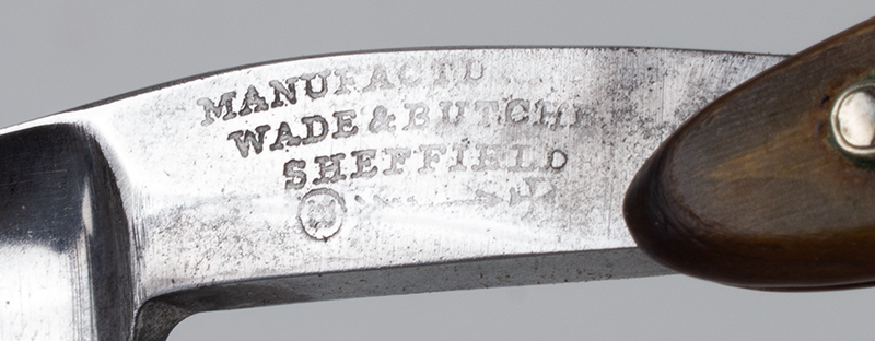 Antique Straight Razor, General George Washington Manufactured by Wade & Butcher, Sheffield 19th Century, address detail