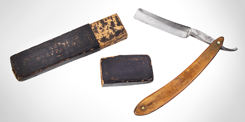 Antique Straight Razor, General George Washington Manufactured by Wade & Butcher, Sheffield 19th Century, razor and case view