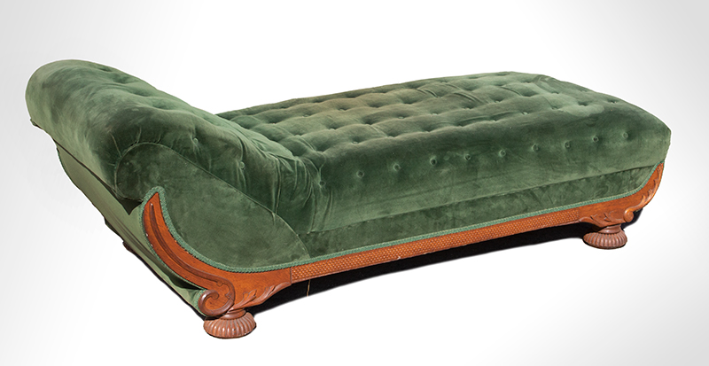 Victorian Chaise Lounge, Recamier, Fainting Couch, Carved & Applied Moldings, Tufted Unknown Maker, circa 1880-1910 Oak, angle view 2