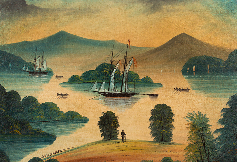 Antique American Folk Art, Painting, Lake George, New York, Ralph Redpath  Signed, Redpath 1867, sans frame