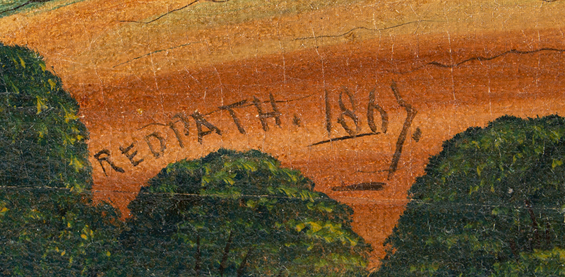 Antique American Folk Art, Painting, Lake George, New York, Ralph Redpath Signed, Redpath 1867, artist signature detail