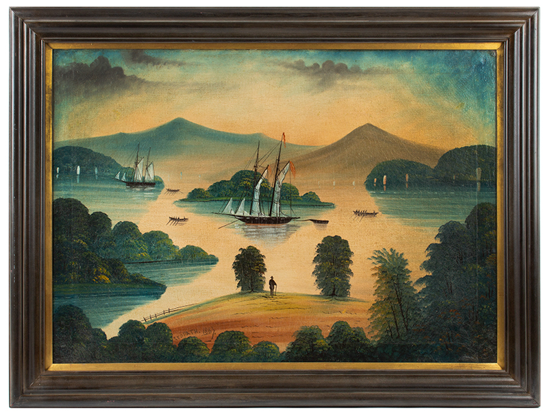 Antique American Folk Art, Painting, Lake George, New York, Ralph Redpath Signed, Redpath 1867, entire view
