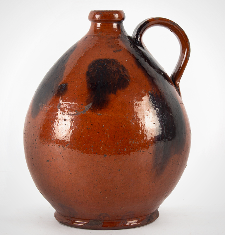 """Antique Redware Jug, Ribbed Strap Handle, Bold manganese Daubs Norwalk, Connecticut or Huntington, Long Island, New York Circa 1835-1845 (Height: 11""""), entire view 1"""