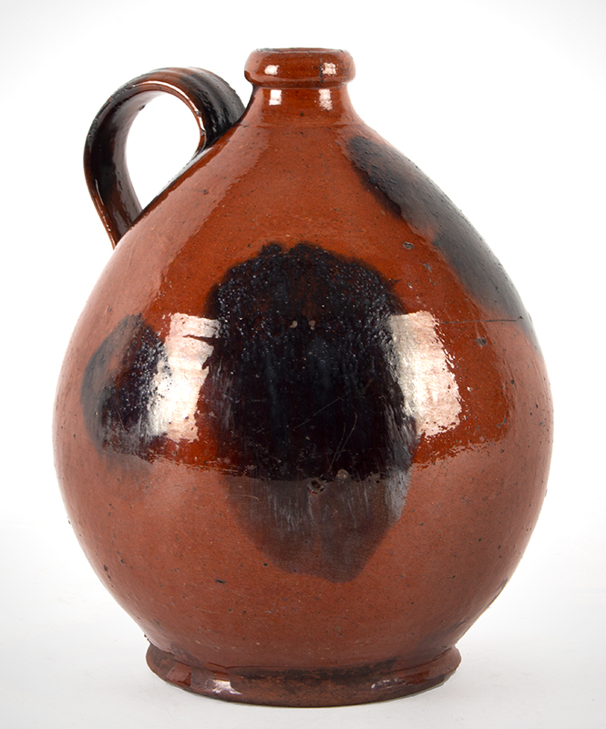 """Antique Redware Jug, Ribbed Strap Handle, Bold manganese Daubs Norwalk, Connecticut or Huntington, Long Island, New York Circa 1835-1845 (Height: 11""""), entire view 2"""