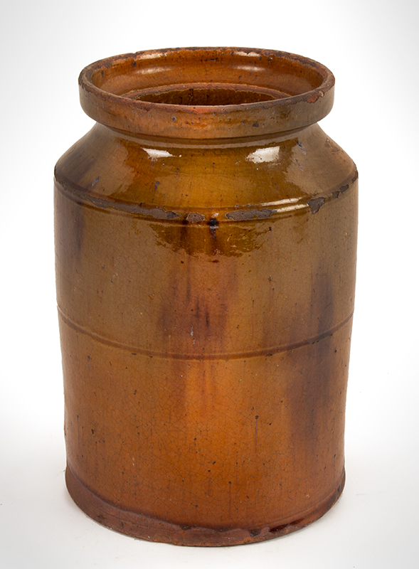 Redware Jar, Cylindrical, Probably Connecticut, Circa 1830-1860, entire view