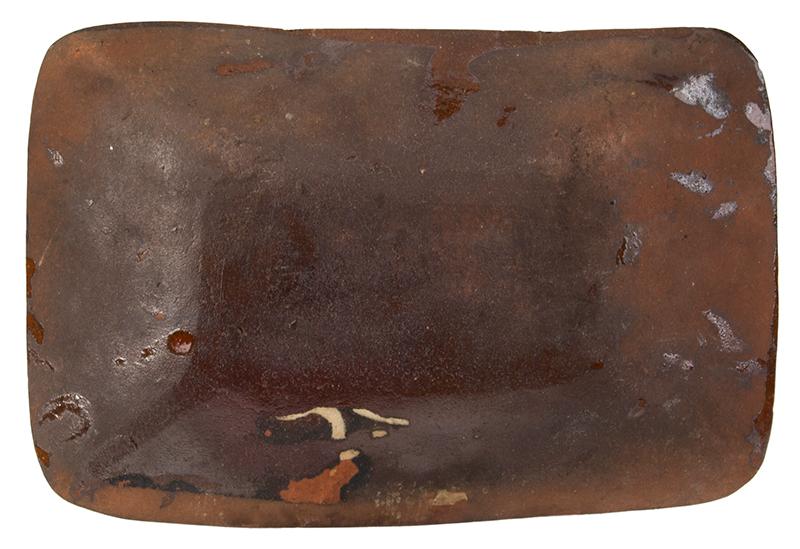 Long Island Slip-Decorated Redware Loaf Dish, Pinwheel Decoration Huntington, Long Island, New York, circa 1807-1860, bottom view