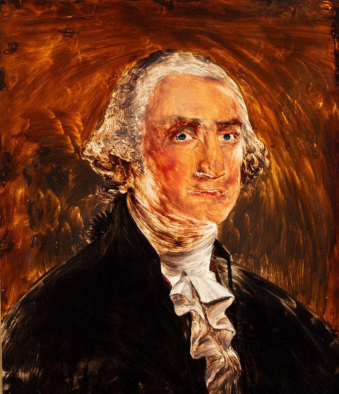 Prior, William Mathew (attributed), Reverse Painted on Glass, Portrait of George Washington