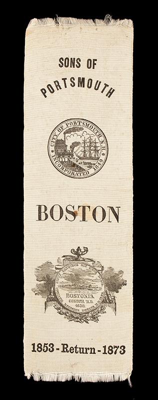 1873 Sons of Portsmouth, Commemorative Ribbon, Silk, Boston, entire view