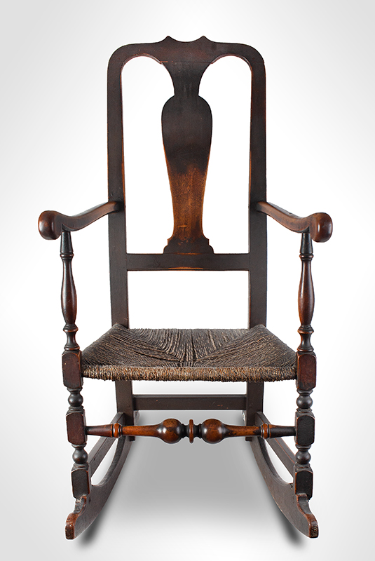 18th Century Queen Anne Rocking Chair, Outstanding Surface History New England, circa 1750 Robust and elegant turnings, generous proportions, great comfort…, entire view 2