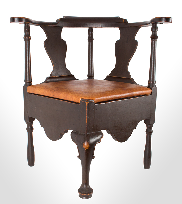 Near Pair of Roundabout Chairs by a Single Maker in Same Shop, Original Surface New England, Circa 1775-1800 Maple, front view