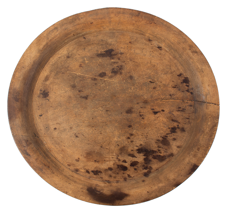 18th Century Treen Plate, Large Trencher New England, Cherry, entire view