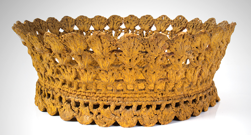 Sailor Made Macramé Work Basket in Mustard Paint Unknown Maker, circa 1850-1900 Wonderful mustard yellow paint, dry patina, entire view 1