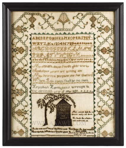 Needlework Sampler, Morning, Middlesex County, Massachusetts Hepzibah Harrington (1794-1877), Circa 1805 Silk on fine linen Exhibiting a Fine Middlesex County Border, Memorial to Brother is Unusual, entire view
