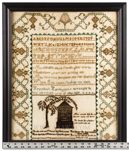 Needlework Sampler, Morning, Middlesex County, Massachusetts Hepzibah Harrington (1794-1877), Circa 1805 Silk on fine linen Exhibiting a Fine Middlesex County Border, Memorial to Brother is Unusual, scale view