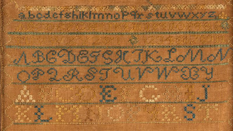 Antique Needlework Marking Sampler, Elizabeth King, Deerfield, 1837 Silk on linen, detail 1