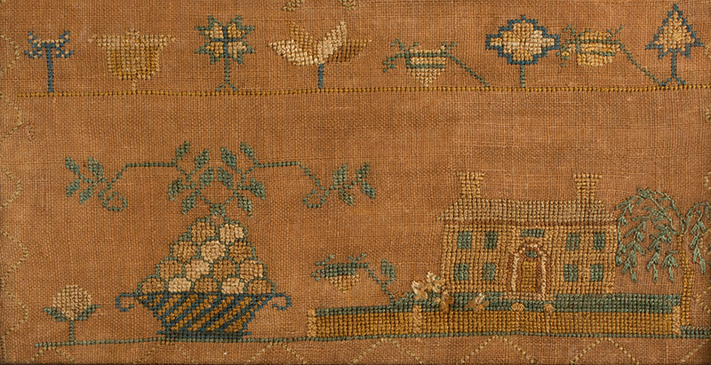 Antique Needlework Marking Sampler, Elizabeth King, Deerfield, 1837 Silk on linen, detail 2
