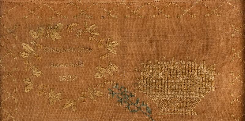 Antique Needlework Marking Sampler, Elizabeth King, Deerfield, 1837 Silk on linen, detail 3