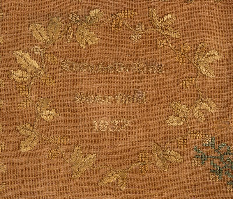 Antique Needlework Marking Sampler, Elizabeth King, Deerfield, 1837 Silk on linen, detail 4