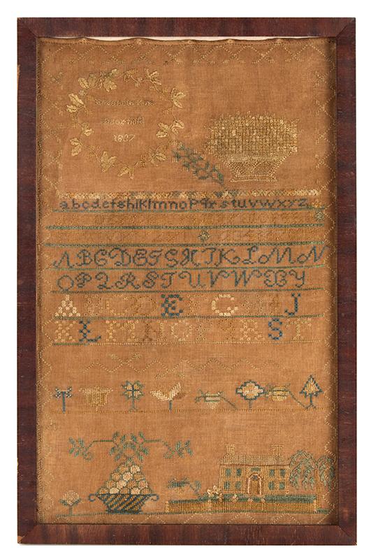 Antique Needlework Marking Sampler, Elizabeth King, Deerfield, 1837 Silk on linen, entire view